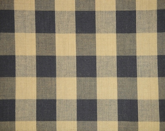 Buffalo Check Fabric | Black And Tea Dye Buffalo Check Homespun Fabric | Farmhouse Check Fabric | Cotton Home Decor Fabric