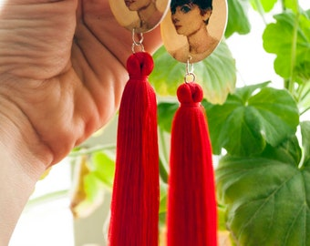 Red brush earrings