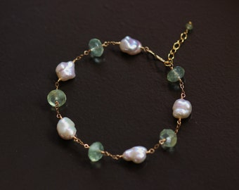Prehnite and Keshi Keishi Pearl Bracelet - 14k Gold Filled Wire Wrapped Pale Sage Green White Creamy Ivory June Birthstone Gemstone