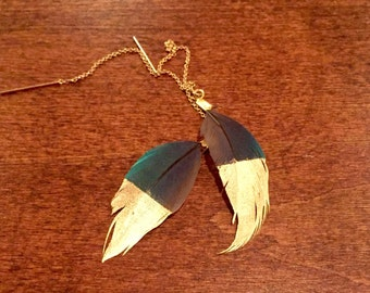 Feather earrings, gorgeous gold-dipped threaders, gold earrings