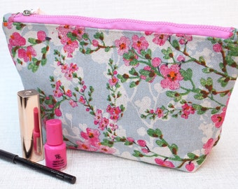 Blue and Pink Flowers | Zippered Purse | Cosmetic Bag | Make-up Bag | Toiletry Bag | Organiser | Gift