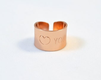 Rose gold heart Ring, Wide gold band Ring/ Hand Stamped Ring with heart you quote