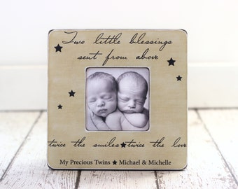 TWINS Gift Personalized Picture Frame Quote Frame Baby Shower Gift for Twins Gift for Twin Sisters Brothers
