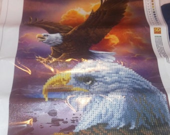 Bald Eagle flying diamond painting