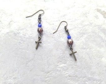 Pearl and Cross earrings, Freshwater pearl earrings, june birthstone, birthday gift for her, cross dangle earrings, mothers day gift, sister