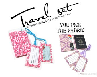 Handmade travel set - Passport cover wallet with two matching luggage tags - you pick the fabric - Travel gift ideas for her - birthday gift