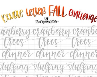 Practice Sheets | Fall DOUBLE LETTER Words for November | Hand Lettering Challenge | Calligraphy Practice