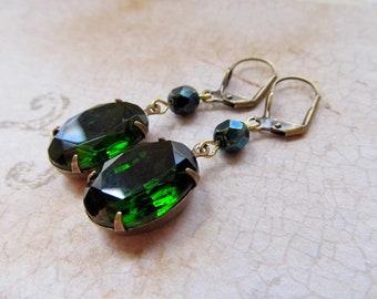 Gothic Earrings Emerald Green Earrings Art Deco Earrings Art Nouveau Jewelry Steampunk Earrings Elven Earrings- Miss Fisher