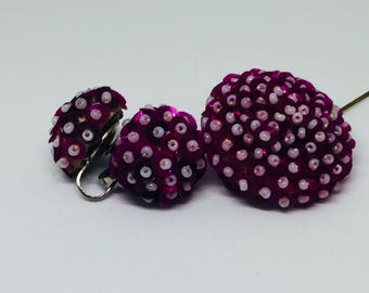 Sequin Earring and Pin Set