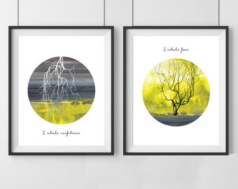 Yellow Inhale Exhale print - Mindfulness gift - Inhale Exhale print - Set of 2