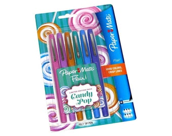 Brand New Set of 6 PAPER MATE Flair Felt Tip Pens- Limited Edition Candy Pop Pack
