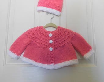 Hand Knitted - Pink and White Baby Cardigan/Sweater with Matching Flower Buttons and Matching Hat Set