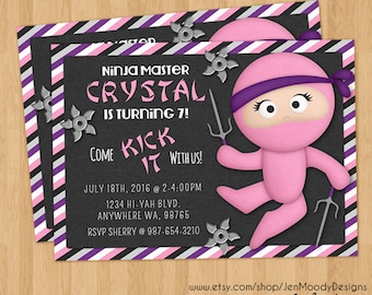 Girl's Pink Ninja Warrior Birthday Invite, Karate Party Invitation - Printable, Digital, Custom, Throwing Star, Sai, Samurai, Sneaky