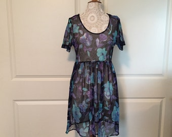 Purple and teal shear flower dress size L