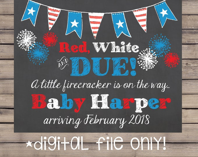 Fourth of July Pregnancy Announcement / 4th of July Pregnancy Announcement / 4th of July Pregnancy Chalkboard / Fourth of July /Digital File