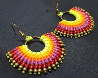 Macrame Earring, Thai Handmade earring, Brass earring,bohemian earrings, Summer earring