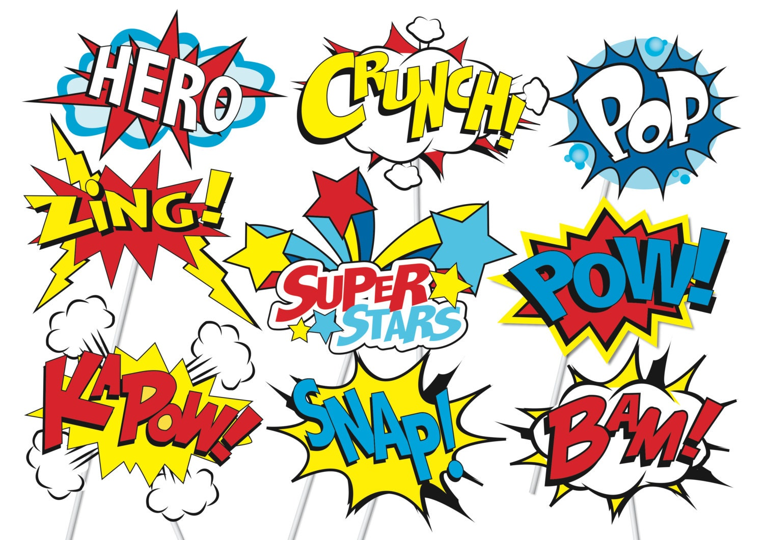 Superhero Action Party Photo Booth Props or Superhero cake