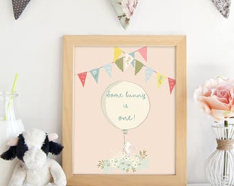 PRINTABLE. Some Bunny is One.Bunny Party.Bunny Baby Shower.Bunny Birthday Party.Party Decor. Easter Birthday. Baby Party Decor.Bunny Decor.