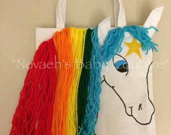 Starlite Hand Applique Rainbow Custom Tote - Custom Rainbow Brite Treat Bag - Starlite Tote Rainbow Brite Bag