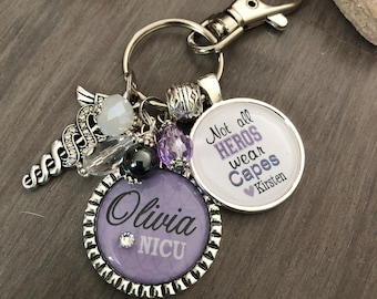 "Doctor, Dr. GIFT Personalized key chain, necklace- ""Not all heros where capes"" medical field NICU, Nurse quote about doctors unique gift"