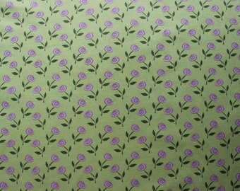 43 X 126 Chartreuse Green and Pink Rose Print Cotton Fabric Remnant