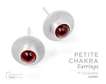Garnet | Petite Chakra Stud Earrings | 1st Chakra | Red | Root Chakra | Cabochon Earrings | Brushed Satin Fine Silver Gemstone Yoga Jewelry