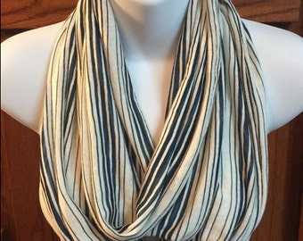 Ivory and Teal Striped Fabric Infinity Scarf