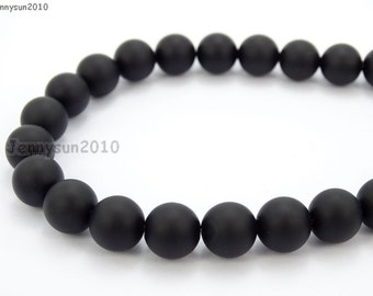 Natural Matte Black Onyx Gemstones 4mm 6mm 8mm 10mm 12mm Round Loose Spacer Beads 15'' Strand Jewelry Design