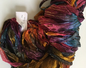 Great Adirondack Co. Morocco Gold Ribbon Yarn #Sun Rise Hand-Dyed 3.5 0z 125 Yards Gold Metallic Umber Copper Scarlet Plum Purple Slate Blue
