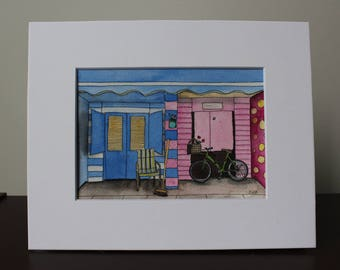 Original Watercolor Painting, Colorful, whimsical, Store Fronts, Beach Painting, Nautical, Original Art, Good Cause, Donation, Animal Rescue