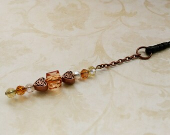 Amber Heart Phone Charm, iphone, Android, Cell Phone, Cell Phone Charm, Accessories, Phone Accessories, Mobile Phone, Cell Phone Plugs