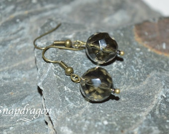 Black faceted glass bead earrings with antique bronze findings