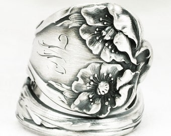 """Art Nouveau Poppy Ring, Sterling Silver Spoon Ring by Alvin Co in the """"Majestic"""" ca 1900, Engraved W, Handmade, Adjustable Ring Size (7114)"""