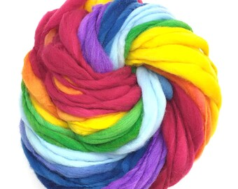 Classic rainbow yarn, 54 yards, self striping, handspun super bulky in merino wool - 3.25 ounces/ 92 grams