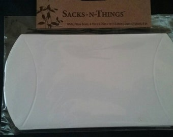 White Paper Pillow Boxes, Gift Boxes, Pillow Gift Boxes, 1 Unopened Package of 6
