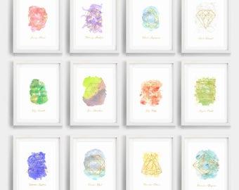 Set of 12 Birthstone, birthstone bundle, gold gems, watercolor crystals, digital prints, printable wall decor, gemstone art, nursery art