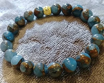 8mm Blue Lake Colisonne Bracelet, Anxiety Bracelet, Natural Healing, Natural Stone, Gemstone Beads