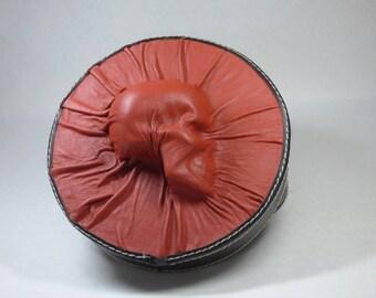 Skull Black Red Leather Studded Round Storage Dice Box Goth 13