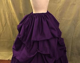 Bustle Pick-up Skirt Victorian Steampunk Purple Cotton Small Thru XXL or Custom Sized
