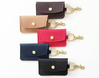 Leather Keychain Wallet, Keychain Credit Card Wallet, Keychain ID Wallet, Business Card Holder, Gift Card Holder, Keychain Metro Card Pouch