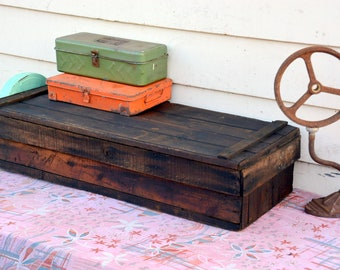 Rustic Antique Wooden Carpenters Toolbox: Large Primitive Homemade  Industrial Utility Chest / Organizer Trunk    Tool Storage, Coffee Table
