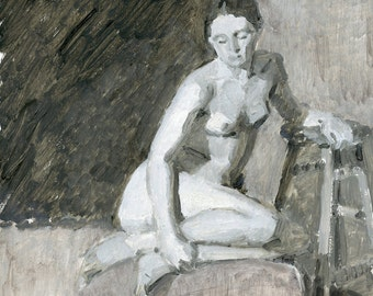 Original Oil Painting of Female Figure - Xyara Grisaille