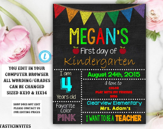 First Day of School Sign, Back to School, Printable Chalkboard Poster, First day of Kindergarten Sign, Any Age, Any Grade, Instant Download