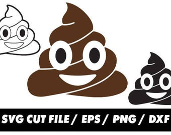 Emoji Mr Poo svg, Emoticon Poop clipart svg eps png dxf - Fabric Cut Print Mug Shirt Decal Active
