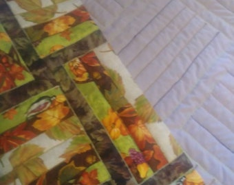 Fall, leaves, rail fence pattern quilt