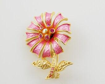 Vintage Pink and Gold Flower Brooch