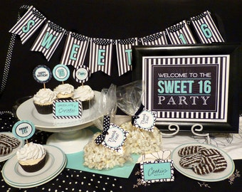 Sweet 16 Birthday Party Printable Set: Black, White & Aqua - Includes Banner, Welcome Sign, Invite, Cupcake Toppers and More