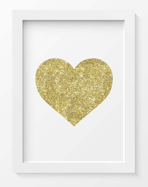 Gold Glitter Heart print Heart print Heart printable