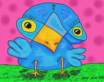 Baby Blue Bird, Original Digital Painting, Giclee,Archival,Limited,Signed and Numbered