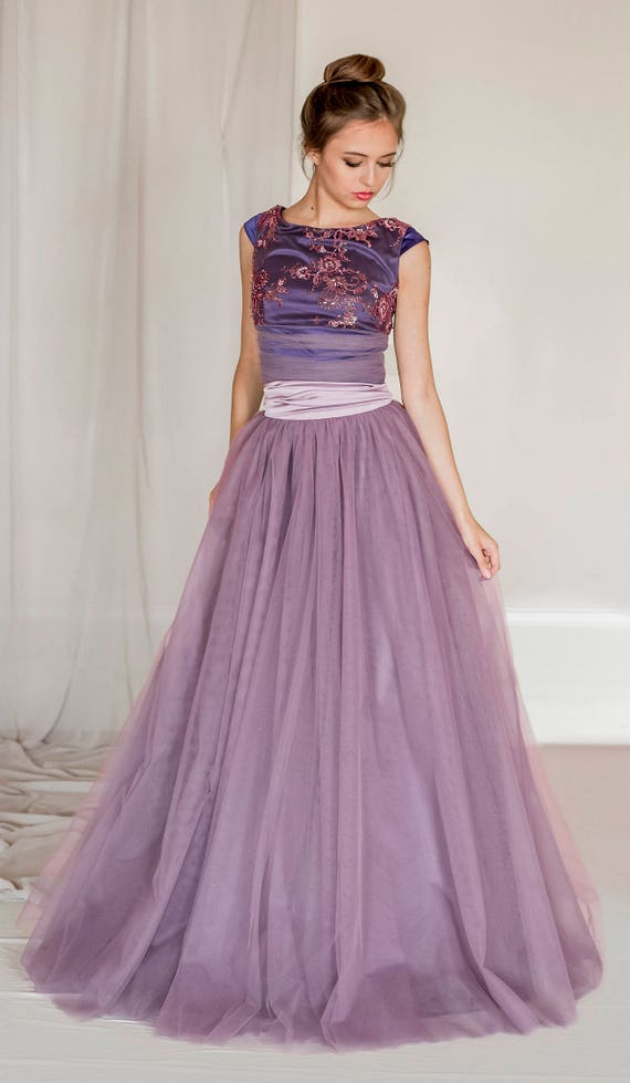 2 piece tulle evening dress crop top and tulle skirt prom